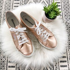 Superga Cotmetu Rose Gold Platform Sneakers